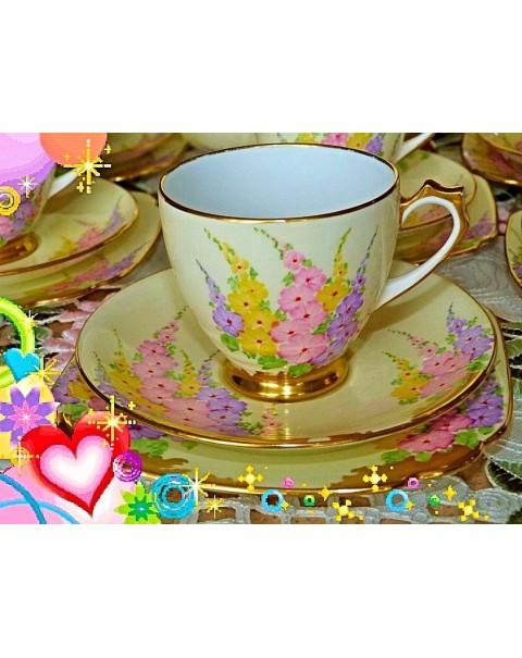 (OUT OF STOCK) STANDARD VINTAGE CHINA TEA SET HOLLYHOCKS